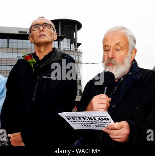 Manchester, UK. 16th Aug, 2019. Left Danny Boyle, Film Director and Mike Leigh Director of Peterloo, at the remembrance event in ManchesterCentral where the massacre took place. © copyright Credit: Della Batchelor/Alamy Live News - Stock Photo