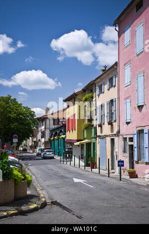 The colourful buildings of the main square of Mirepoix in the Ariege, southern France. - Stock Photo