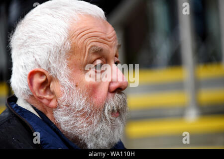 Manchester., UK. 16th Aug, 2019. Mike Leigh at the Peterloo Massacre Memorial Manchester Central © copyright Credit: Della Batchelor/Alamy Live News - Stock Photo