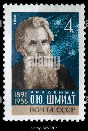 Otto Schmidt (1891-1956), Soviet scientist, mathematician, astronomer, geophysicist, statesman, academician, Hero of the USSR, postage stamp, Russia, - Stock Photo