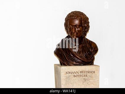 Bust of Johann Friedrich Böttger inventor of German Porcelain at Fortress Königstein - Stock Photo