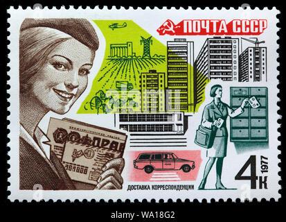 Postal service, postage stamp, Russia, USSR, 1977 - Stock Photo