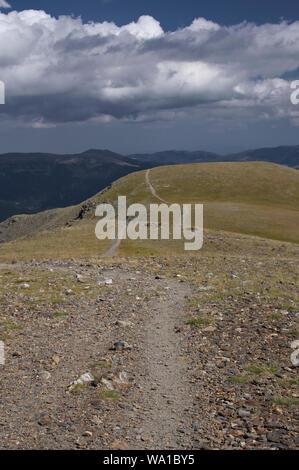 Footpat down from the peak of Puig Mal, Catalunya, Spain - Stock Photo