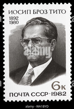 Marshal Josip Broz Tito (1892-1980), postage stamp, Russia, USSR, 1982 - Stock Photo