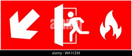 emergency fire exit sign. running man icon to door. Red color. arrow vector. warning sign plate - Stock Photo