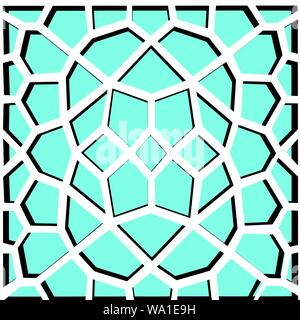 Seamless geometric vector pattern in oriental style turquoise black color - Stock Photo
