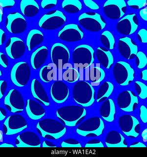 Abstract mix of round blue colors vector. Flower shape in the middle branching out. Mix of different ellipse shapes with three types of blue hues. - Stock Photo