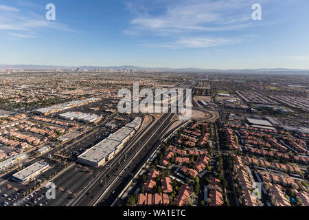 Aerial view of the route 95 freeway and suburban Summerlin homes in sprawling Las Vegas, Nevada. - Stock Photo