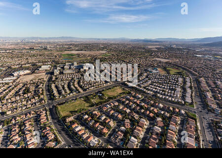 Aerial view of the suburban streets and rooftops in the Summerlin neighborhood of Las Vegas, Nevada. - Stock Photo