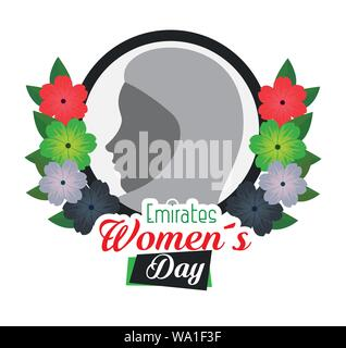 label of woman silhouette with flowers and leaves - Stock Photo
