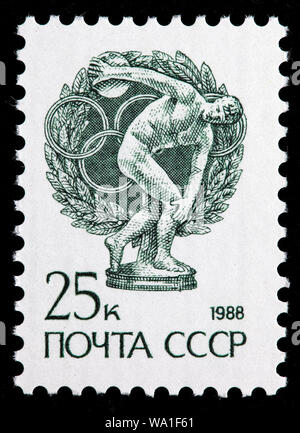 Discobolus, 5th century BC Greek Statue by Miron, postage stamp, Russia, USSR, 1988 - Stock Photo