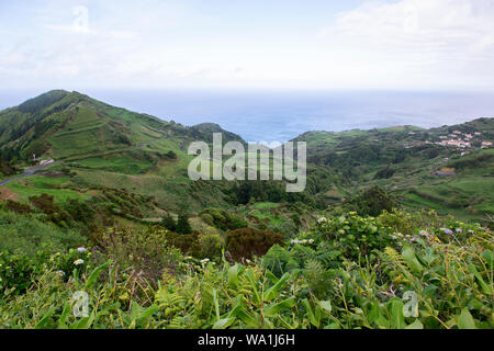 Coast view of Fajazinha , Flores Island, Portugal - Stock Photo