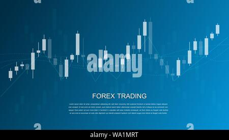 Forex trading graphic design concept. Candlestick chart in financial market vector illustration - Stock Photo