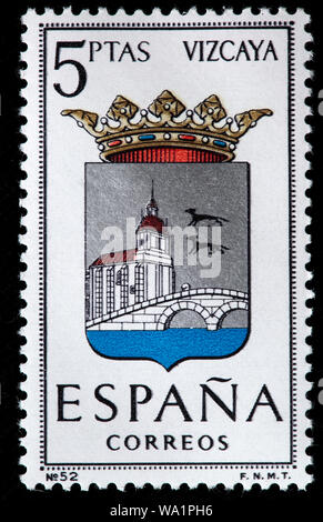 Vizcaya, Biscay, Basque Country, Coat of arms, postage stamp, Spain, 1966 - Stock Photo