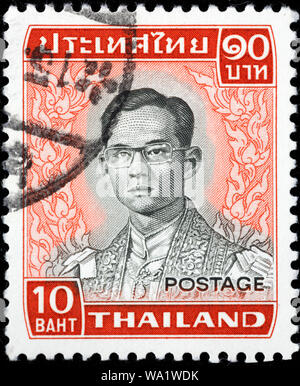Bhumibol Adulyadej, King Bhumibol the Great, Rama IX (1927-2016), King of Thailand, postage stamp, Thailand, 1972 - Stock Photo