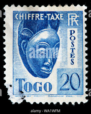 Traditional mask, postage stamp, Togo, 1941 - Stock Photo