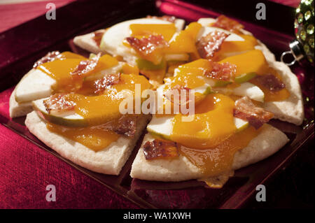 Grilled Flatbread with Apple, Cheese and Bacon - Stock Photo
