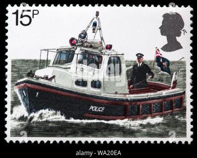 River Patrol Boat, 150th Anniversary of Metropolitan Police, postage stamp, UK, 1979 - Stock Photo