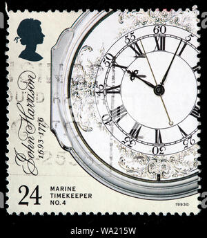 Marine timekeeper, Decorated Enamel Dial, John Harrison (1693-1776), English carpenter, clockmaker, postage stamp, UK, 1993 - Stock Photo