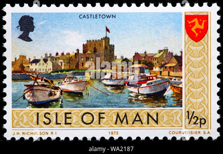 Castletown, postage stamp, UK, Isle of Man, 1973 - Stock Photo