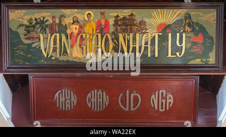 Painting that depicts Jesus Christ, Buddha, Laozi, Confucius & Muhammad in Trung Hung Buu Toa Cao Dai, a Caodaist temple - Da Nang, Vietnam. - Stock Photo