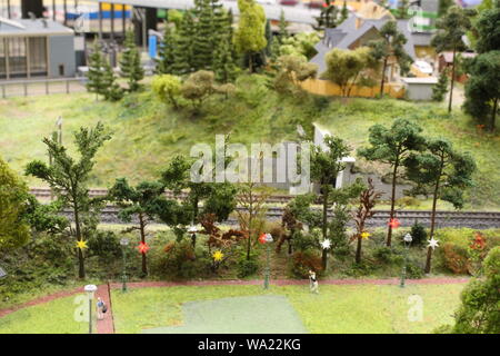 Saint Petersburg, Russia - july 23, 2019: The exhibition of Grand maket Russia, layout of major cities, roads and Railways - Stock Photo