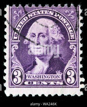 George Washington (1732-1799), first President of USA, portrait by Gilbert Stuart, postage stamp, USA, 1932 - Stock Photo