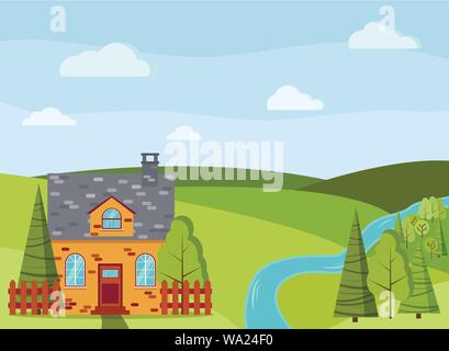 Spring or summer cartoon landscape scene with country brick farm house, green trees, spruces, river, fields, clouds - Stock Photo