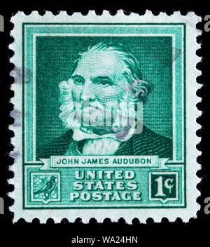 John James Audubon (1785-1851), American ornithologist, naturalist, painter, postage stamp, USA, 1940 - Stock Photo