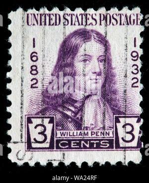 William Penn (1644-1718), English real estate entrepreneur, postage stamp, USA, 1932 - Stock Photo