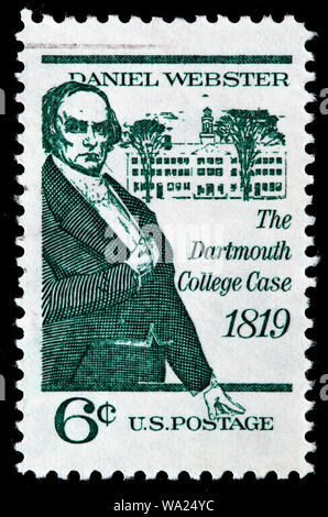 Daniel Webster (1782-1852), US Senator,     Dartmouth College Case, postage stamp, USA, 1969 - Stock Photo