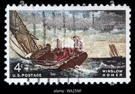 Winslow Homer (1836-1910), American landscape painter, painting, Winslow Homer, postage stamp, USA, 1962 - Stock Photo