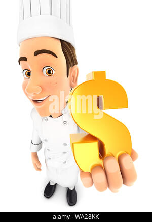 3d head chef holding gold dollar sign, illustration with isolated white background - Stock Photo