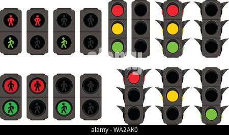 traffic lights set on white - Stock Photo