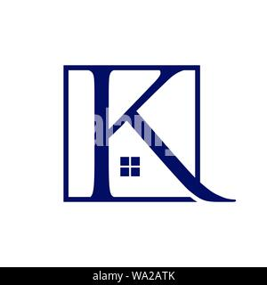 Letter K Abstract realty logo - Vector logo concept illustration. Abstract shape logo. Vector logo template. Design     element. Realty logo design - Stock Photo