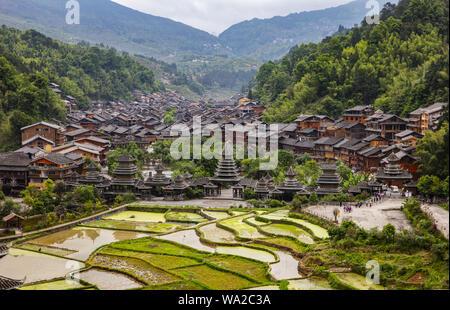 In guizhou province, the miao and dong autonomous prefecture, province, ZhaoXing township, ZhaoXing DongZhai - Stock Photo