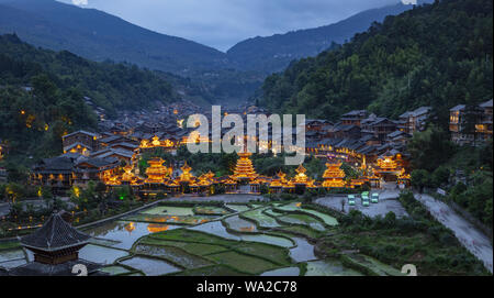 In guizhou province, the miao and dong autonomous prefecture, province, ZhaoXing township, ZhaoXing DongZhai, - Stock Photo