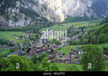 Beautiful view of Lauterbrunnen from above in Switzerland - Stock Photo