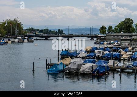 A view of old town in Zurich from Limmat river in Zurich, Switzerland - Stock Photo