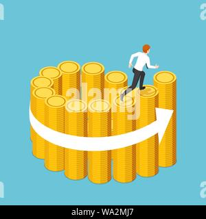Flat 3d isometric businessman running on the swirl staircase of golden coin stacks. Business success and financial concept. - Stock Photo