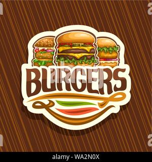 Vector logo for Burgers, white sign with cheeseburger, fresh veggieburger and hamburger with fried chicken cutlet, original typeface for word burgers, - Stock Photo