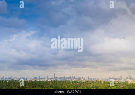 City. Architectural modern buildings in panoramic view on background .Tree nature area .the nature and modern city life. Urban concept .zoning idea sa - Stock Photo