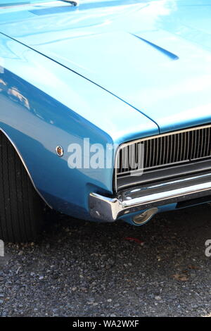 old blue american car - Stock Photo