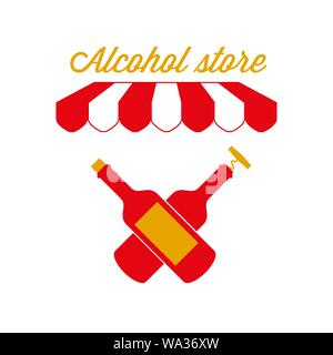 Alcohol Store, Wine Shop Sign, Emblem. Red and White Striped Awning Tent. Two Crossed Wine Bottles. Gold and Red Colors. Flat Vector Illustration. - Stock Photo
