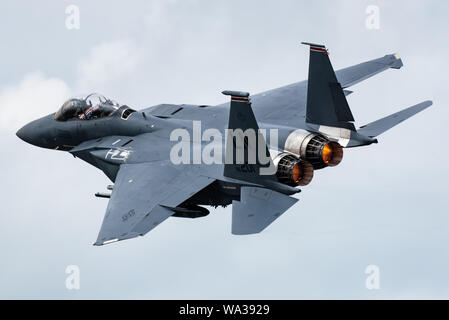 A McDonnell Douglas F-15E Strike Eagle multirole fighter jet from the 48th Fighter Wing of the United States Air Force (USAF). - Stock Photo