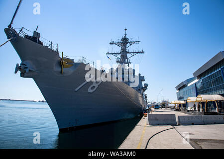 CONSTANTA, Romania (Aug. 12, 2019) — The Arleigh Burke-class guided-missile destroyer USS Porter (DDG 78) is moored to a pier in Constanta, Romania, Aug. 12, 2019. Porter, forward-deployed to Rota, Spain, is on its seventh patrol in the U.S. 6th Fleet area of operations in support of U.S. national security interests in Europe and Africa. (U.S. Navy photo by Mass Communication Specialist 3rd Class T. Logan Keown/Released) - Stock Photo