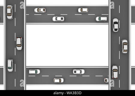 roads with white cars at right angles at different heights. 3d rendering - Stock Photo