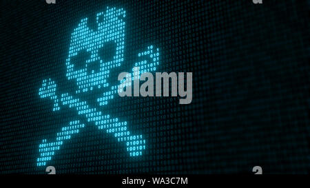 Binary Code With Skull and Crossbones, Representing A Computer Virus Or Malware attack  - 3D Illustration