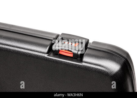 Black plastic case for gun isolated on white background. Black plastic case with combination locks. - Stock Photo
