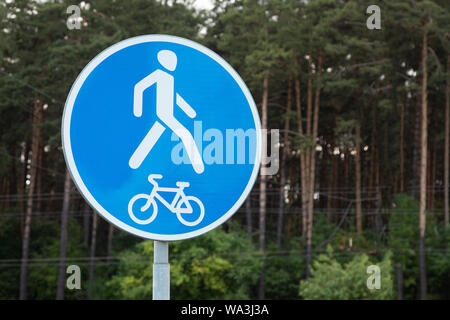 Roadsign Both pedestrian and bicyclist traffic allowed - Stock Photo